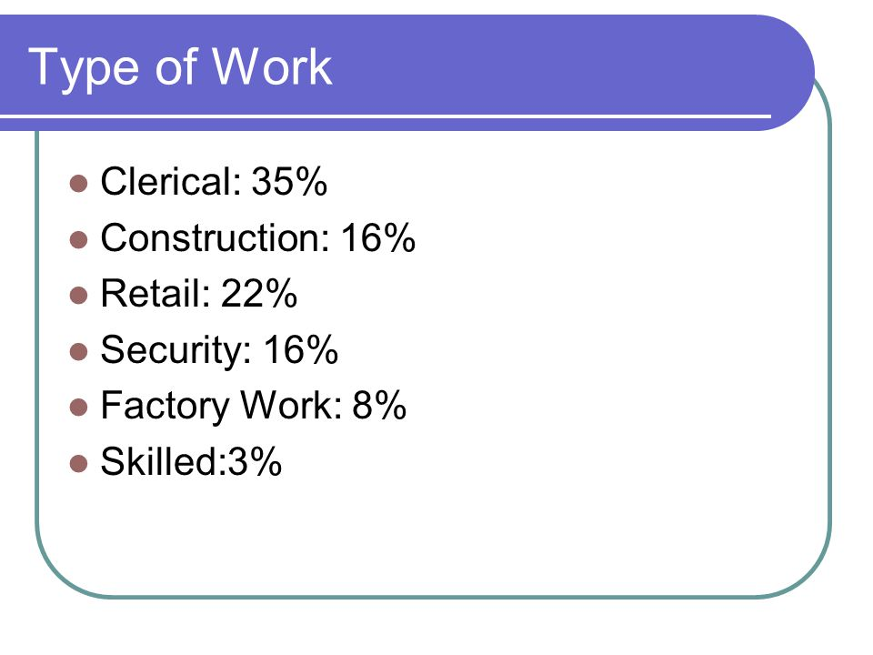 Type of Work Clerical: 35% Construction: 16% Retail: 22% Security: 16% Factory Work: 8% Skilled:3%