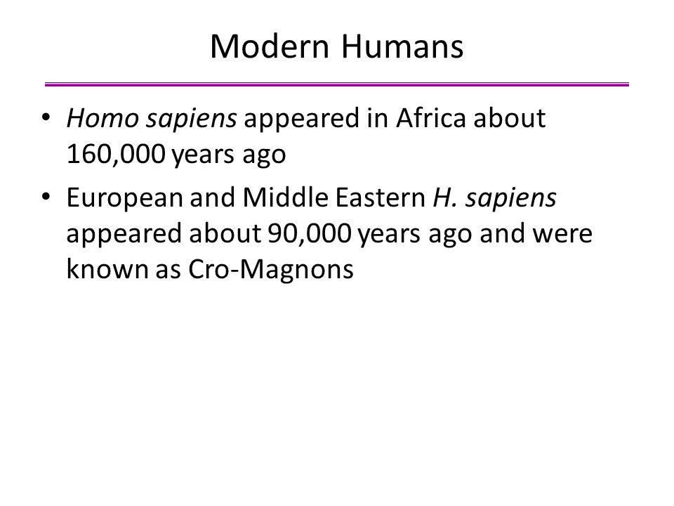 Modern Humans Homo sapiens appeared in Africa about 160,000 years ago European and Middle Eastern H. sapiens appeared about 90,000 years ago and were
