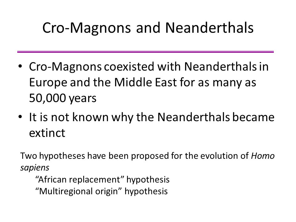 Cro-Magnons and Neanderthals Cro-Magnons coexisted with Neanderthals in Europe and the Middle East for as many as 50,000 years It is not known why the