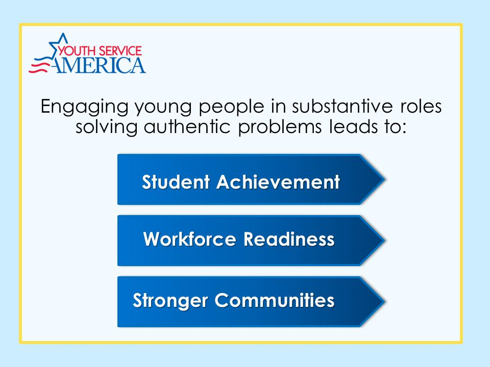 Engaging young people in substantive roles solving authentic problems leads to: Student Achievement Workforce Readiness Stronger Communities