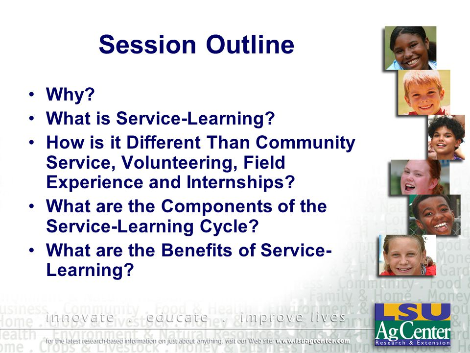 Service-Learning Community Benefits Meet Direct Community Needs Provide Additional Resources Empowerment Active Citizenship Improving Community Assets Understanding and Appreciation of Diversity