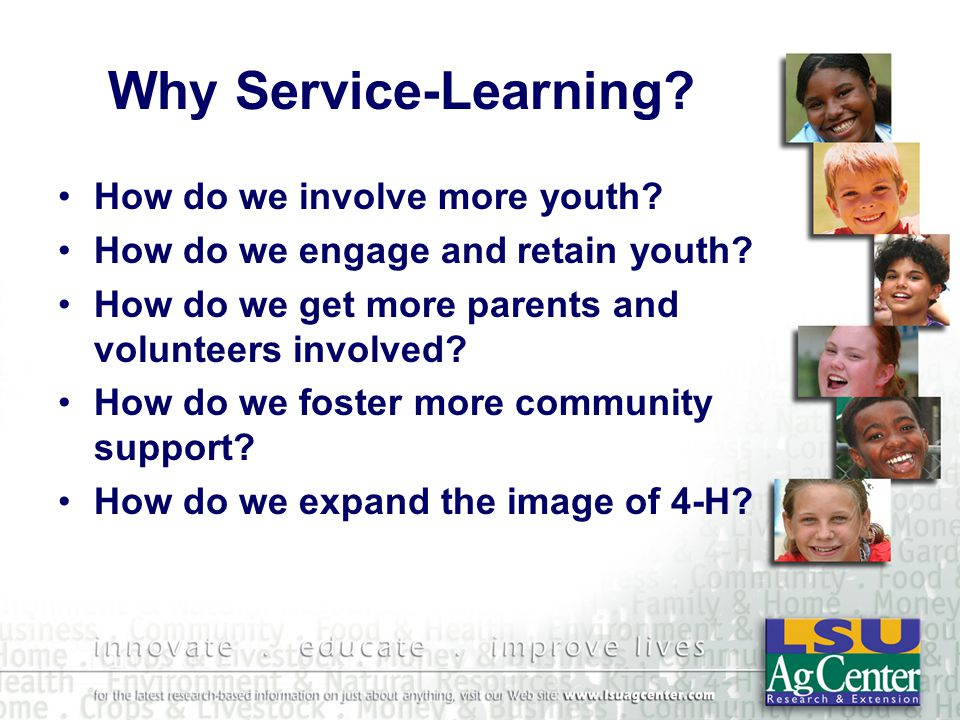 Service-Learning Organizational Benefits Paradigm Shift with New Roles Motivated Learners Engagement in Significant Work Cooperative Learning Environment Reflective Practitioners Collaborative Decision-making Positive, Caring Organizational Climate Community Involvement Resources –(Service-Learning Guide)