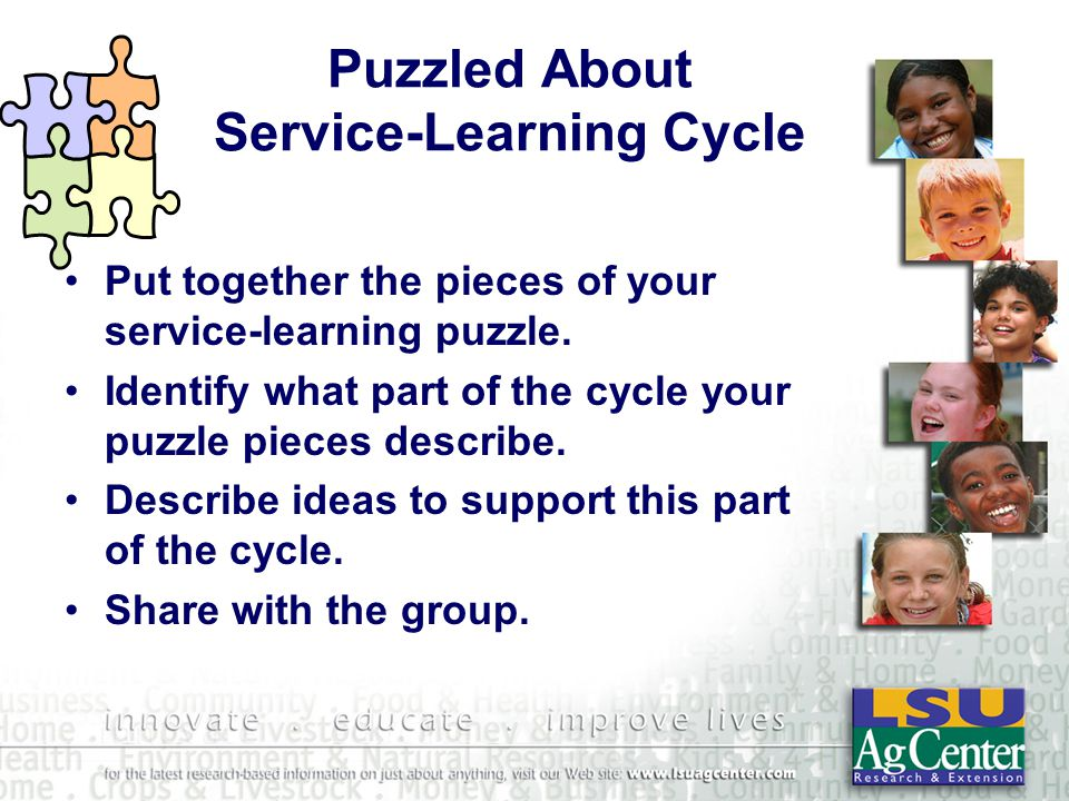 Puzzled About Service-Learning Cycle Put together the pieces of your service-learning puzzle.