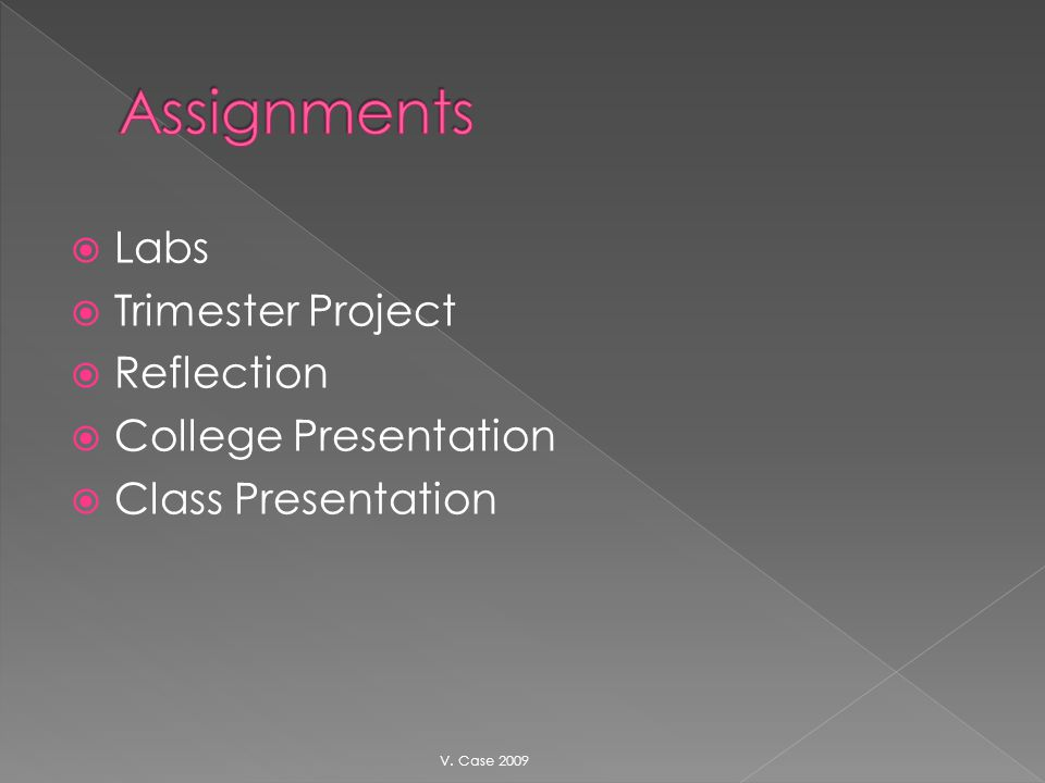 Labs Trimester Project Reflection College Presentation Class Presentation V. Case 2009