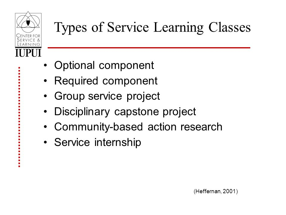 Types of Service Learning Classes Optional component Required component Group service project Disciplinary capstone project Community-based action research Service internship (Heffernan, 2001)