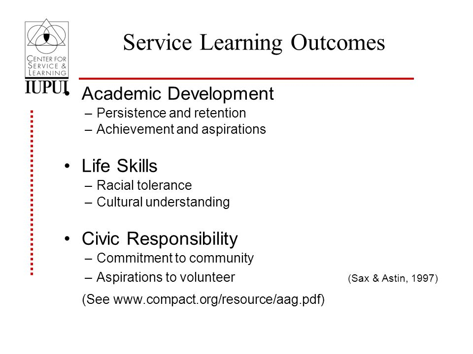 Service Learning Outcomes Academic Development –Persistence and retention –Achievement and aspirations Life Skills –Racial tolerance –Cultural understanding Civic Responsibility –Commitment to community –Aspirations to volunteer (Sax & Astin, 1997) (See www.compact.org/resource/aag.pdf)