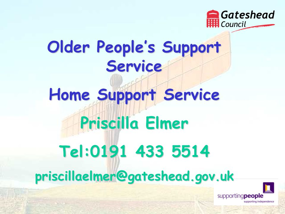 Older Peoples Support Service Home Support Service Priscilla Elmer Tel:0191 433 5514 priscillaelmer@gateshead.gov.uk