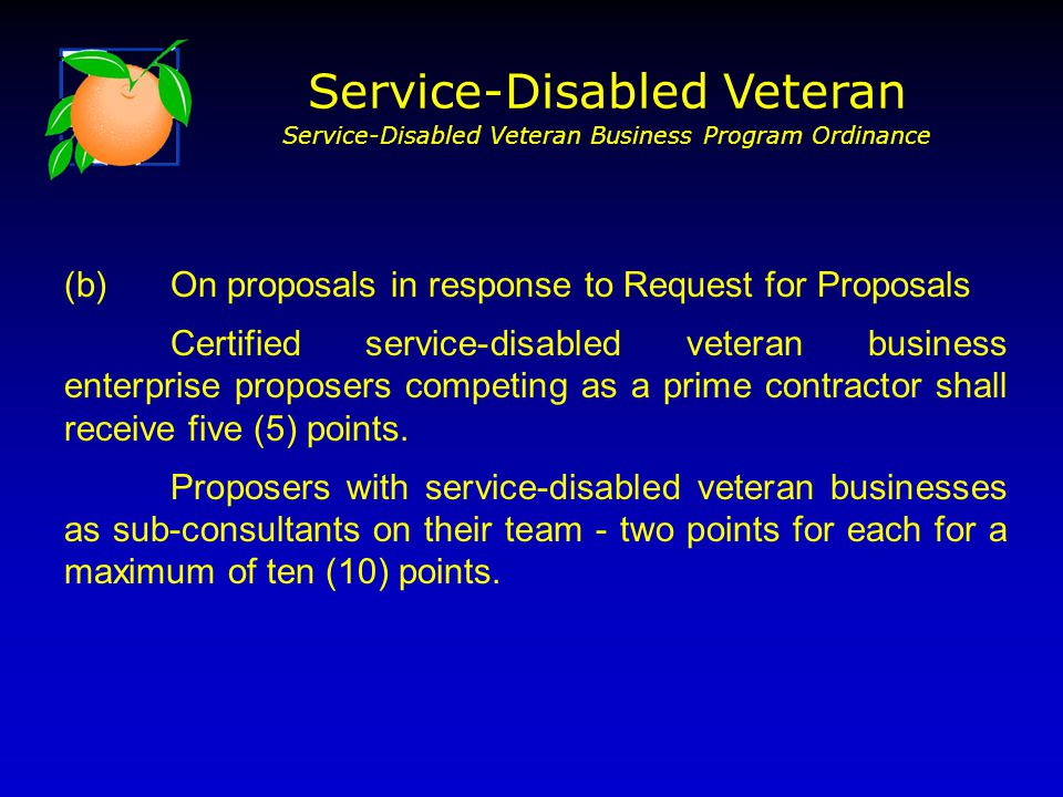 (b) On proposals in response to Request for Proposals Certified service-disabled veteran business enterprise proposers competing as a prime contractor shall receive five (5) points.