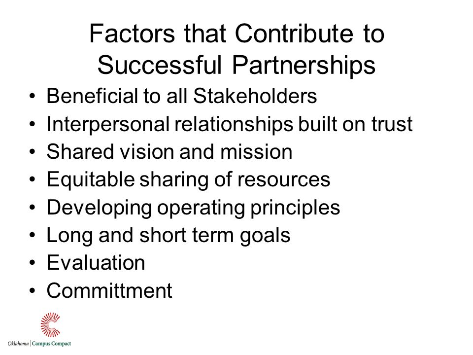 Factors that Contribute to Successful Partnerships Beneficial to all Stakeholders Interpersonal relationships built on trust Shared vision and mission Equitable sharing of resources Developing operating principles Long and short term goals Evaluation Committment