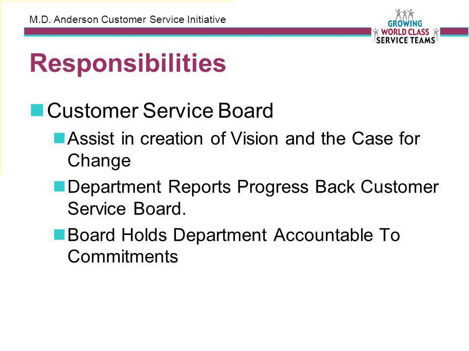 M.D. Anderson Customer Service Initiative Responsibilities Customer Service Board Assist in creation of Vision and the Case for Change Department Repo