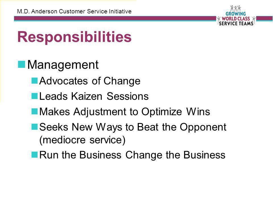 M.D. Anderson Customer Service Initiative Responsibilities Management Advocates of Change Leads Kaizen Sessions Makes Adjustment to Optimize Wins Seek