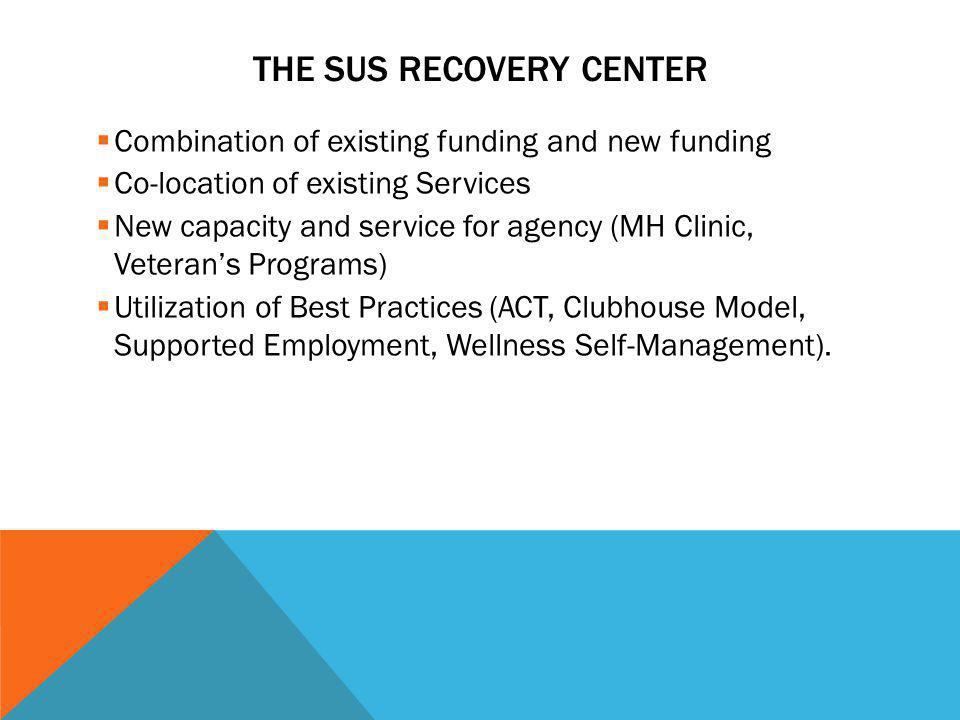 THE SUS RECOVERY CENTER Combination of existing funding and new funding Co-location of existing Services New capacity and service for agency (MH Clini