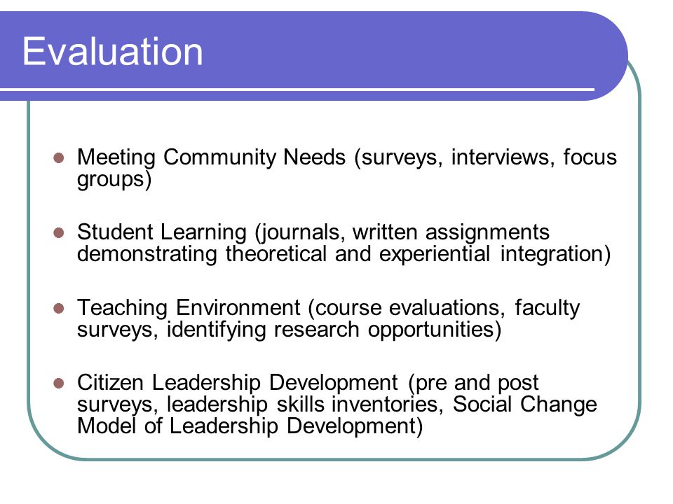 Evaluation Meeting Community Needs (surveys, interviews, focus groups) Student Learning (journals, written assignments demonstrating theoretical and experiential integration) Teaching Environment (course evaluations, faculty surveys, identifying research opportunities) Citizen Leadership Development (pre and post surveys, leadership skills inventories, Social Change Model of Leadership Development)