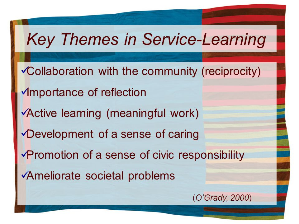 Key Themes in Service-Learning Collaboration with the community (reciprocity) Importance of reflection Active learning (meaningful work) Development of a sense of caring Promotion of a sense of civic responsibility Ameliorate societal problems (OGrady, 2000)
