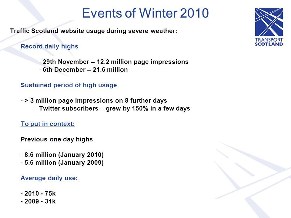 Events of Winter 2010 Traffic Scotland website usage during severe weather: Record daily highs - 29th November – 12.2 million page impressions - 6th D