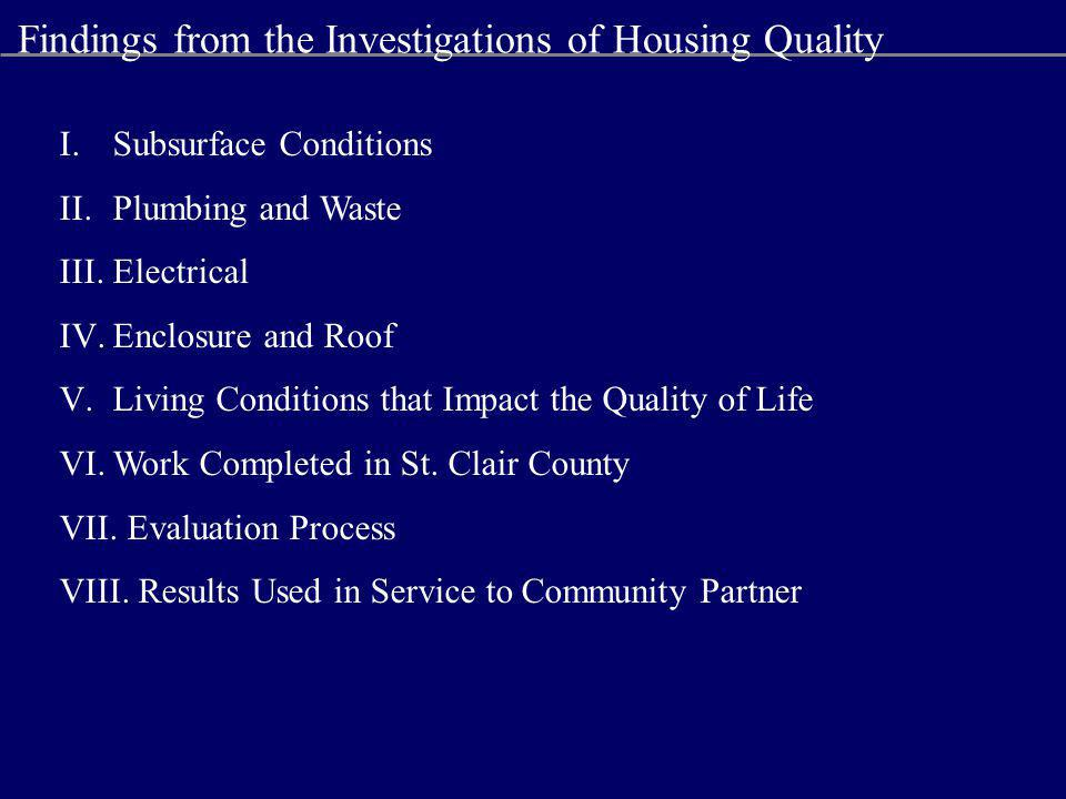 Findings from the Investigations of Housing Quality I.Subsurface Conditions II.Plumbing and Waste III.Electrical IV.Enclosure and Roof V.Living Conditions that Impact the Quality of Life VI.Work Completed in St.
