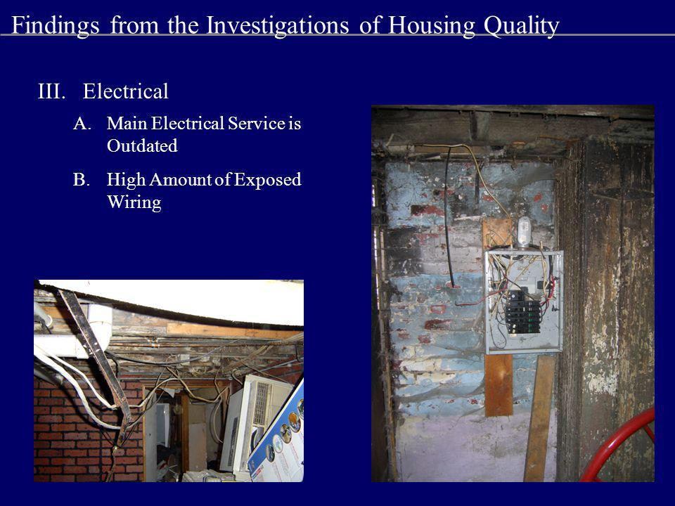 III.Electrical A.Main Electrical Service is Outdated B.High Amount of Exposed Wiring Findings from the Investigations of Housing Quality