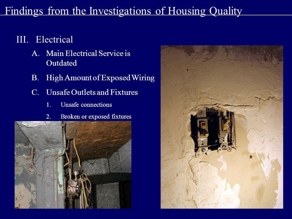 III.Electrical A.Main Electrical Service is Outdated B.High Amount of Exposed Wiring C.Unsafe Outlets and Fixtures 1.Unsafe connections 2.Broken or exposed fixtures Findings from the Investigations of Housing Quality