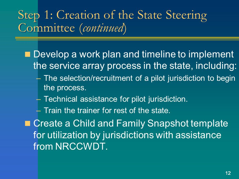 12 Step 1: Creation of the State Steering Committee (continued) Develop a work plan and timeline to implement the service array process in the state,