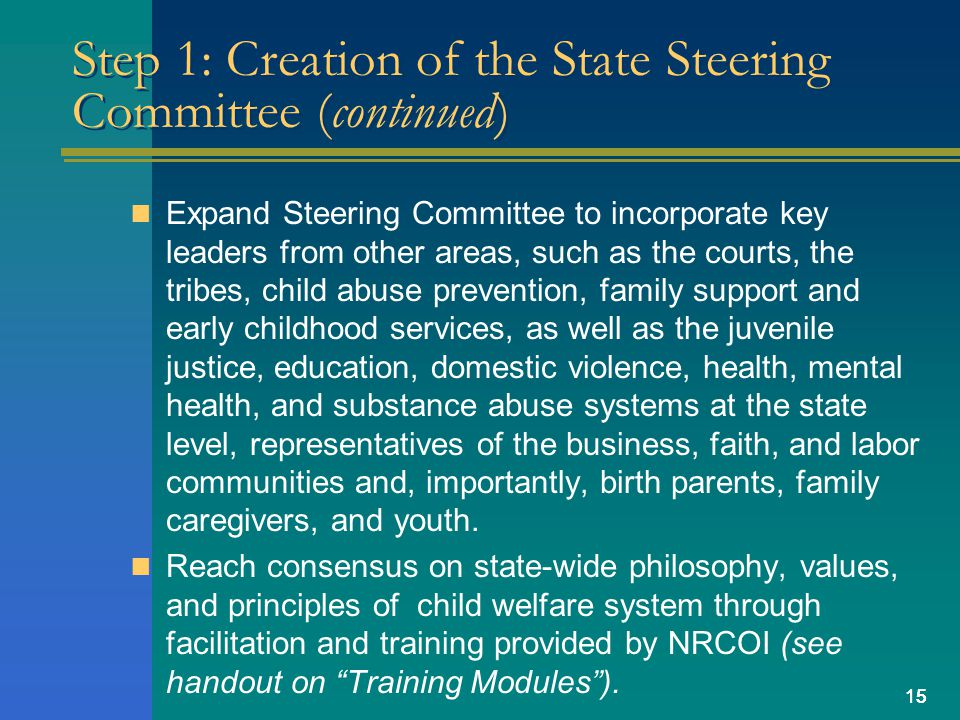 15 Step 1: Creation of the State Steering Committee (continued) Expand Steering Committee to incorporate key leaders from other areas, such as the courts, the tribes, child abuse prevention, family support and early childhood services, as well as the juvenile justice, education, domestic violence, health, mental health, and substance abuse systems at the state level, representatives of the business, faith, and labor communities and, importantly, birth parents, family caregivers, and youth.