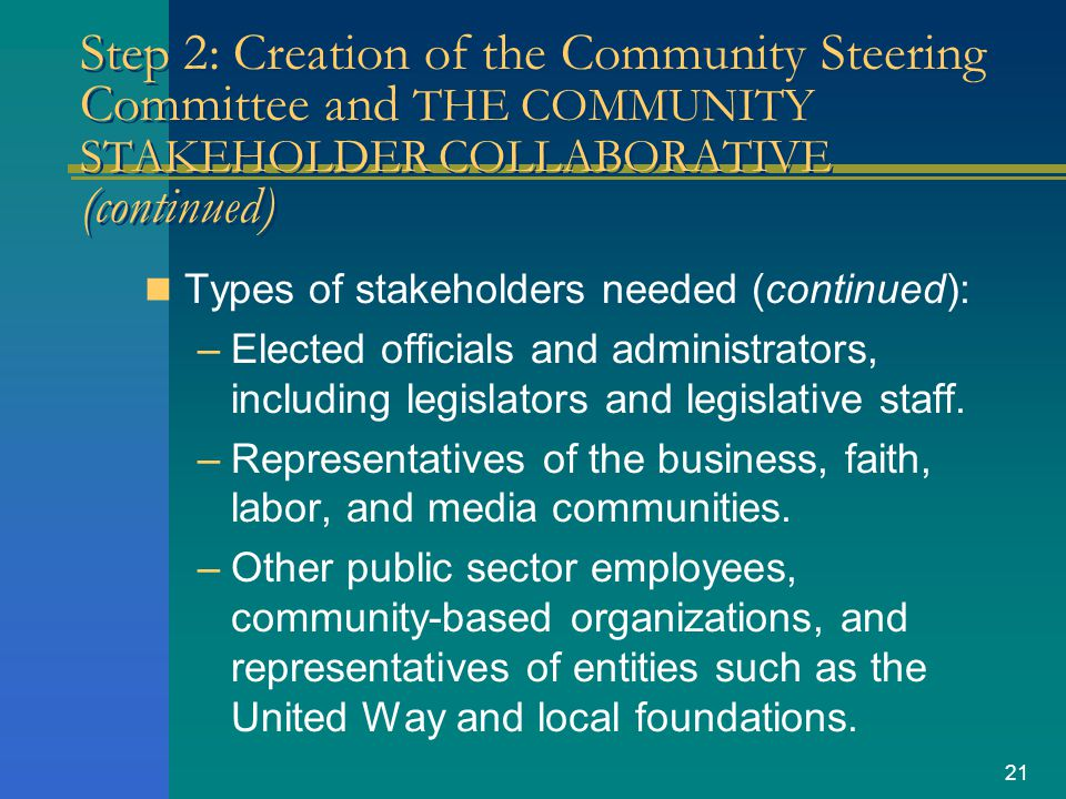21 Step 2: Creation of the Community Steering Committee and THE COMMUNITY STAKEHOLDER COLLABORATIVE (continued) Types of stakeholders needed (continue