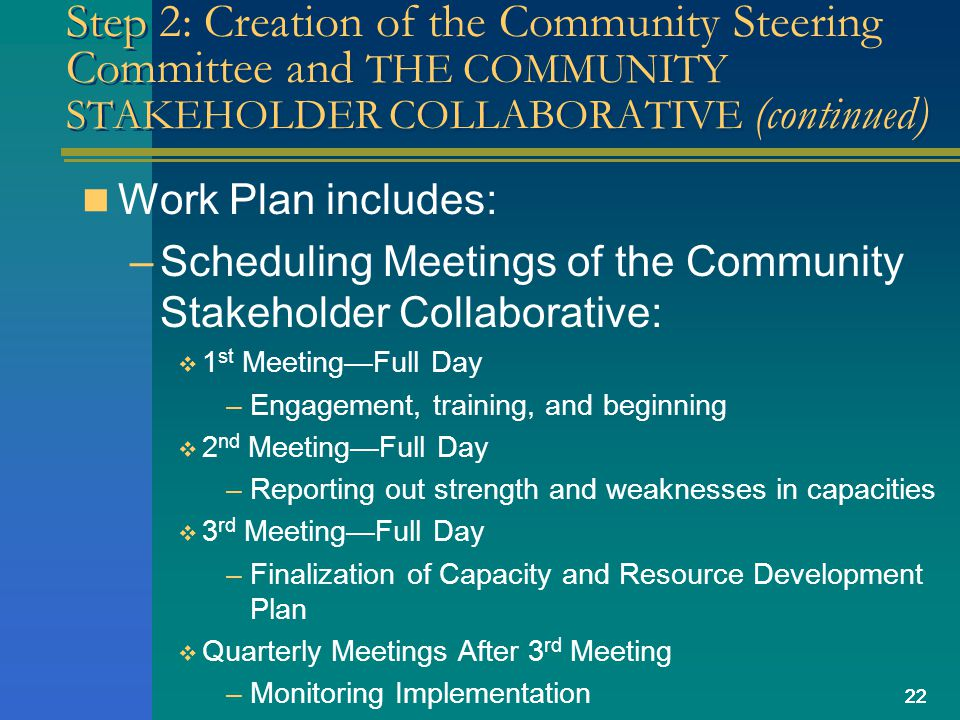 22 Step 2: Creation of the Community Steering Committee and THE COMMUNITY STAKEHOLDER COLLABORATIVE (continued) Work Plan includes: –Scheduling Meetings of the Community Stakeholder Collaborative: 1 st MeetingFull Day –Engagement, training, and beginning 2 nd MeetingFull Day –Reporting out strength and weaknesses in capacities 3 rd MeetingFull Day –Finalization of Capacity and Resource Development Plan Quarterly Meetings After 3 rd Meeting –Monitoring Implementation 22