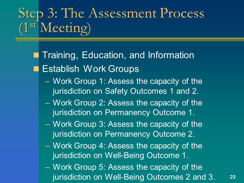 23 Step 3: The Assessment Process (1 st Meeting) Training, Education, and Information Establish Work Groups –Work Group 1: Assess the capacity of the jurisdiction on Safety Outcomes 1 and 2.