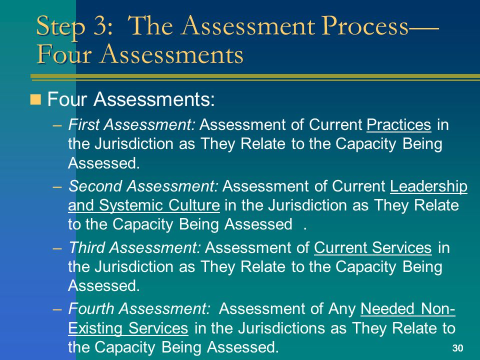 30 Step 3: The Assessment Process Four Assessments Four Assessments: –First Assessment: Assessment of Current Practices in the Jurisdiction as They Relate to the Capacity Being Assessed.