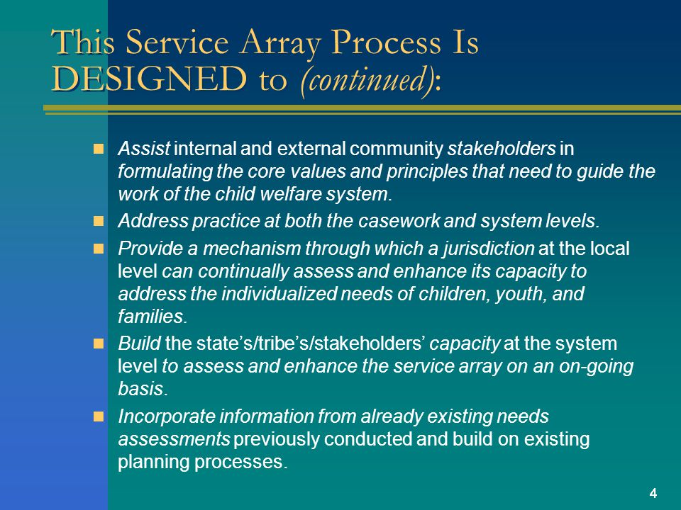 44 This Service Array Process Is DESIGNED to (continued): Assist internal and external community stakeholders in formulating the core values and princ