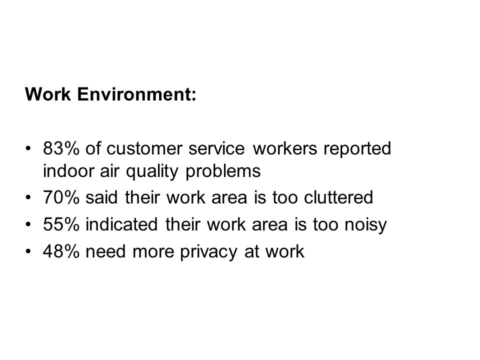 Work Environment: 83% of customer service workers reported indoor air quality problems 70% said their work area is too cluttered 55% indicated their work area is too noisy 48% need more privacy at work