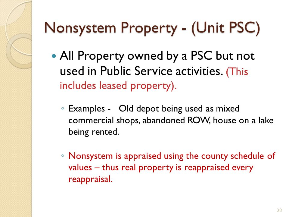 Nonsystem Property - (Unit PSC) All Property owned by a PSC but not used in Public Service activities.