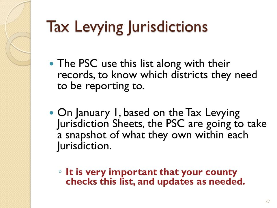 Tax Levying Jurisdictions The PSC use this list along with their records, to know which districts they need to be reporting to.