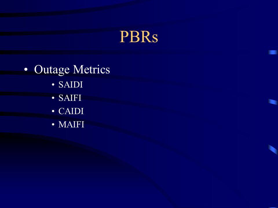 PBRs Outage Metrics SAIDI SAIFI CAIDI MAIFI