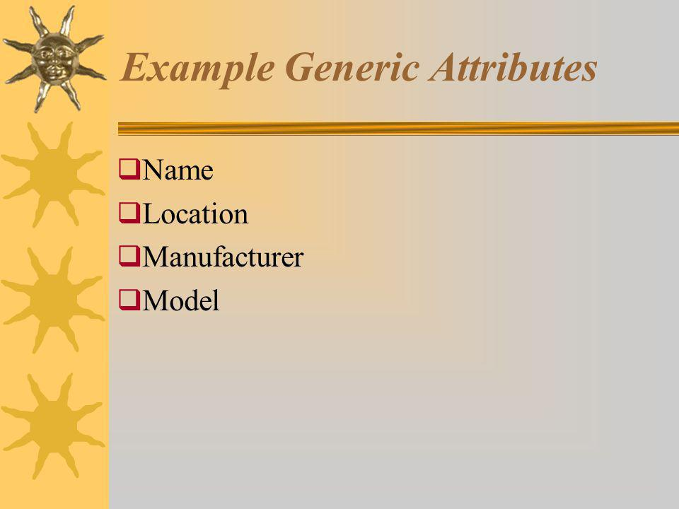 Example Generic Attributes Name Location Manufacturer Model