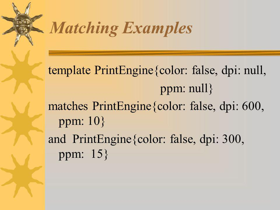 Matching Examples template PrintEngine{color: false, dpi: null, ppm: null} matches PrintEngine{color: false, dpi: 600, ppm: 10} and PrintEngine{color: false, dpi: 300, ppm: 15}