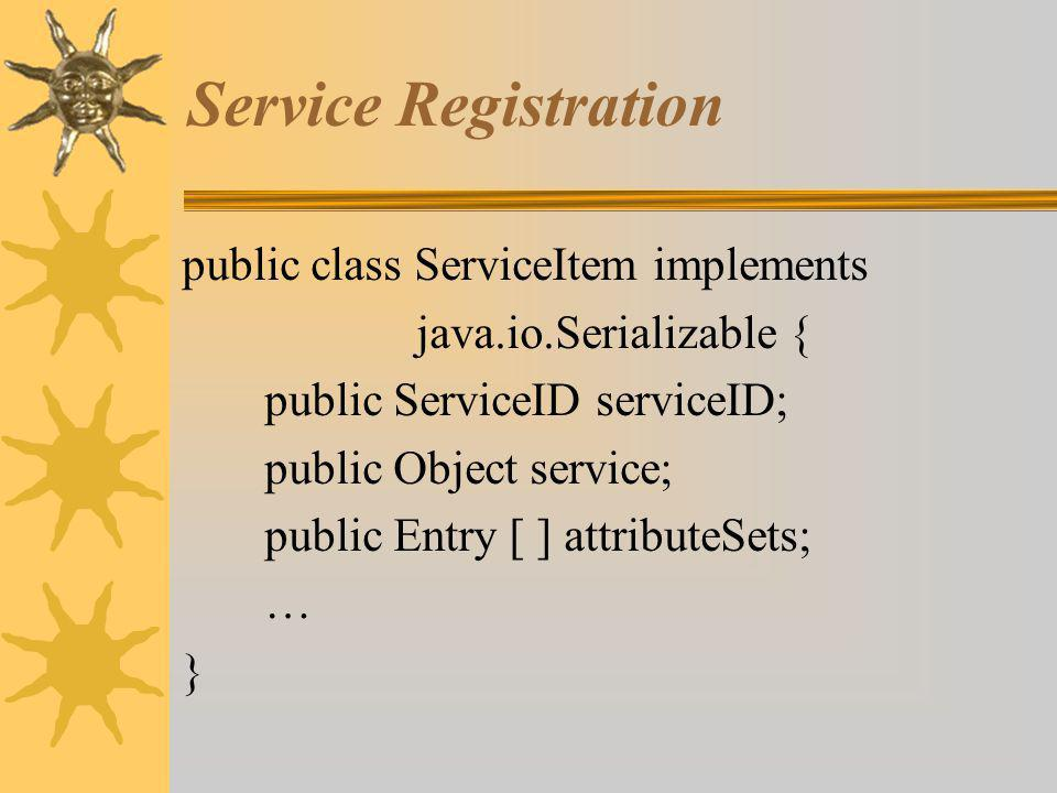 Service Registration public class ServiceItem implements java.io.Serializable { public ServiceID serviceID; public Object service; public Entry [ ] attributeSets; … }