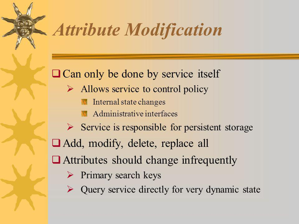 Attribute Modification Can only be done by service itself Allows service to control policy Internal state changes Administrative interfaces Service is responsible for persistent storage Add, modify, delete, replace all Attributes should change infrequently Primary search keys Query service directly for very dynamic state