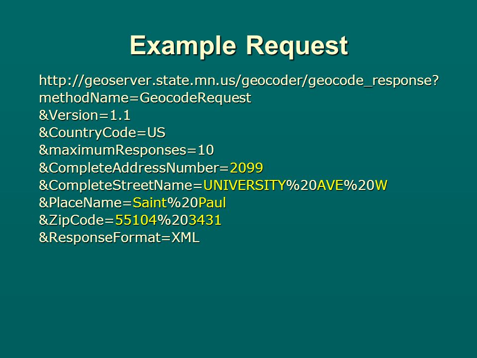 Example Request http://geoserver.state.mn.us/geocoder/geocode_response.