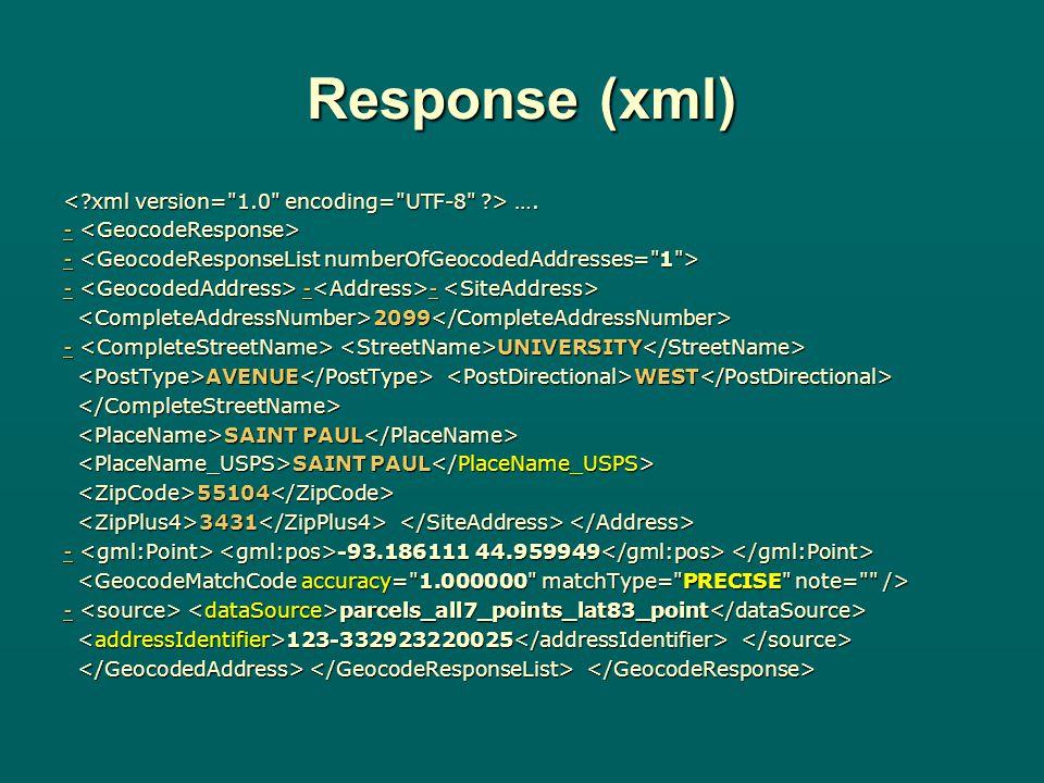 Response (xml) …. ….