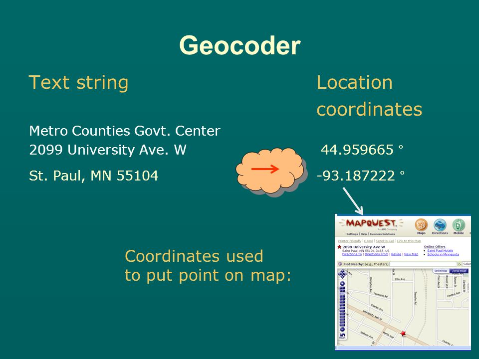 Text string Location coordinates 2099 University Ave.