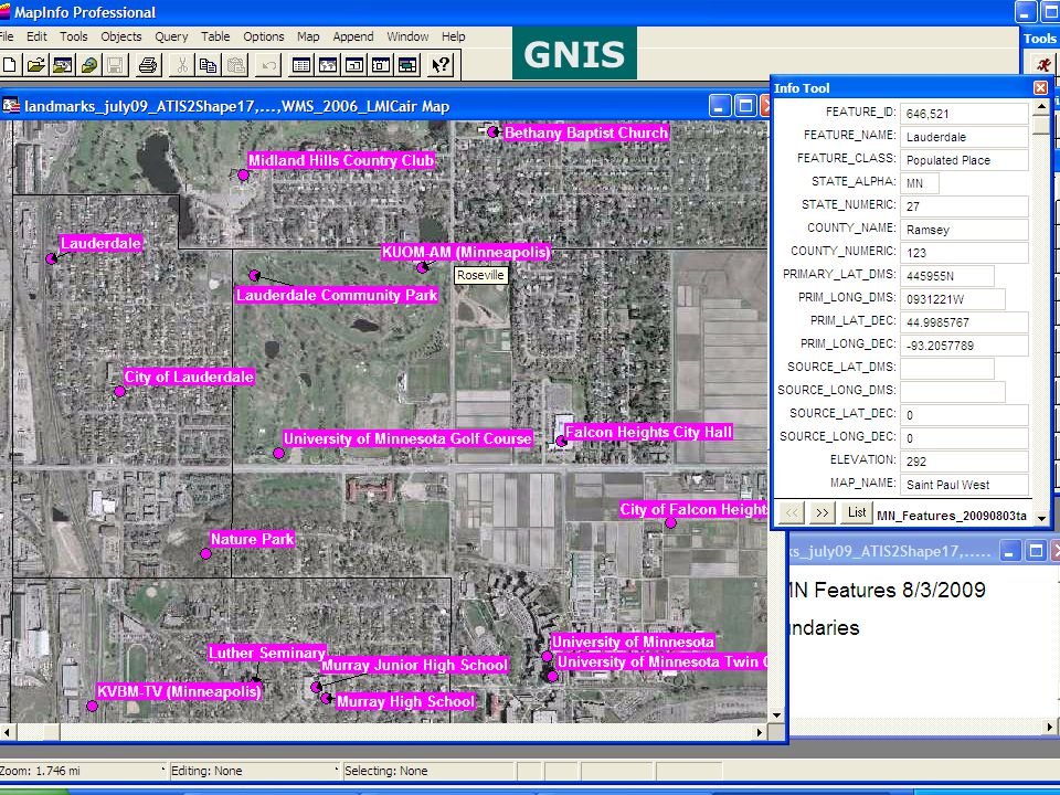 Data: examples GNIS