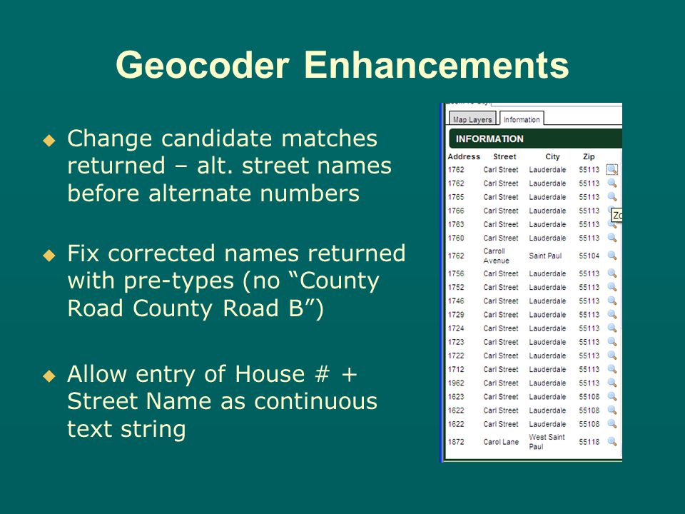 Geocoder Enhancements Change candidate matches returned – alt.