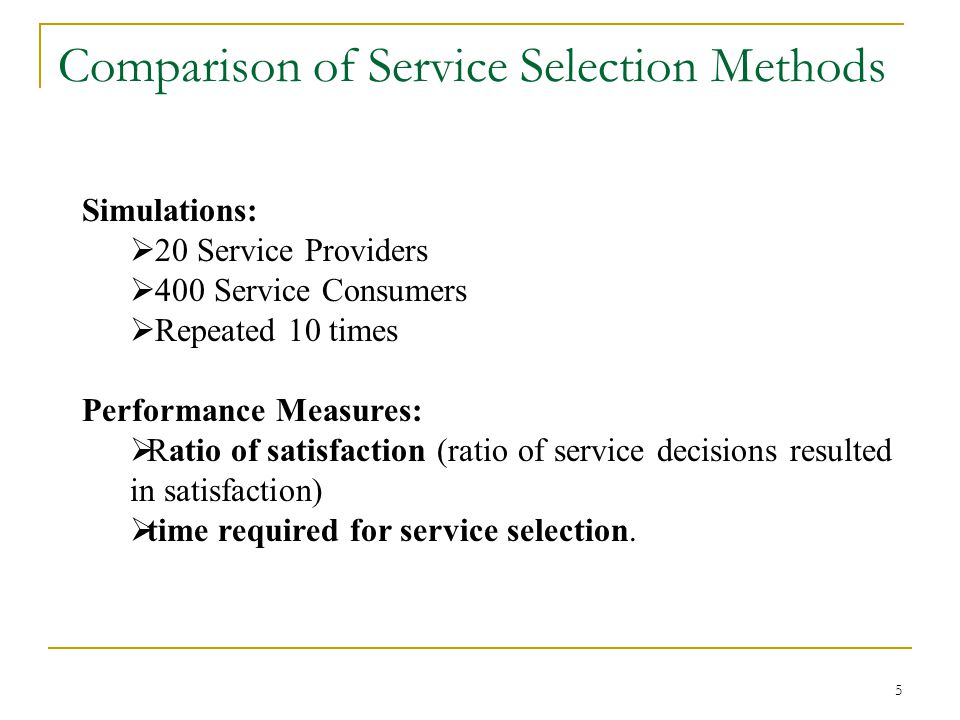 5 Comparison of Service Selection Methods Simulations: 20 Service Providers 400 Service Consumers Repeated 10 times Performance Measures: Ratio of satisfaction (ratio of service decisions resulted in satisfaction) time required for service selection.