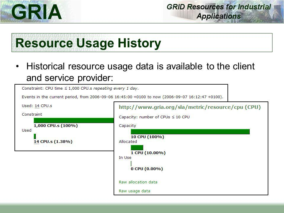 Resource Usage History Historical resource usage data is available to the client and service provider: