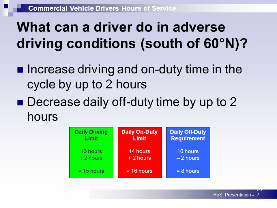 Commercial Vehicle Drivers Hours of Service HoS Presentation -207 What can a driver do in adverse driving conditions (south of 60°N).