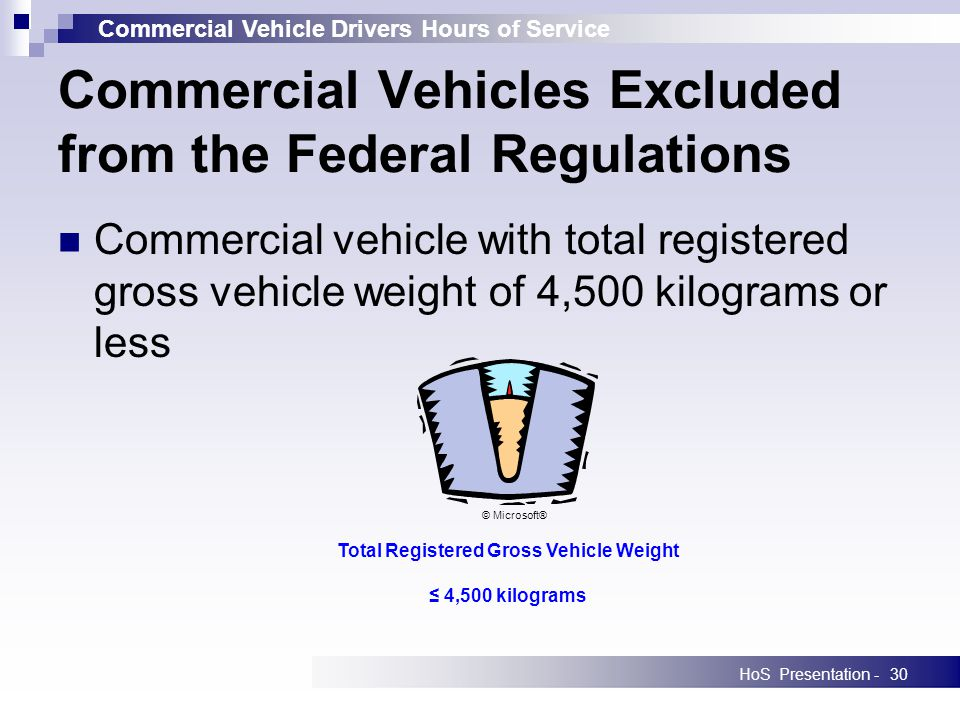 Commercial Vehicle Drivers Hours of Service HoS Presentation -30 Commercial Vehicles Excluded from the Federal Regulations Commercial vehicle with total registered gross vehicle weight of 4,500 kilograms or less Total Registered Gross Vehicle Weight 4,500 kilograms © Microsoft®