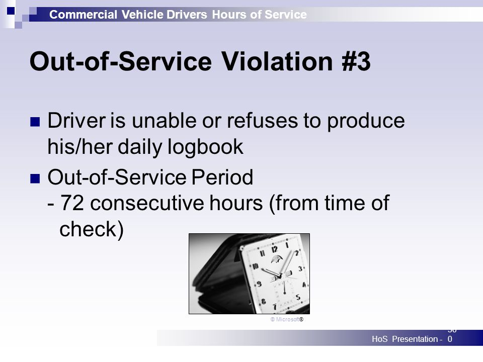 Commercial Vehicle Drivers Hours of Service HoS Presentation -300 Out-of-Service Violation #3 Driver is unable or refuses to produce his/her daily log