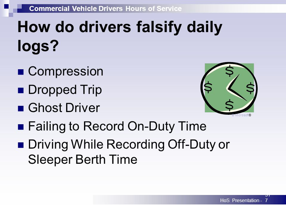 Commercial Vehicle Drivers Hours of Service HoS Presentation -317 How do drivers falsify daily logs.