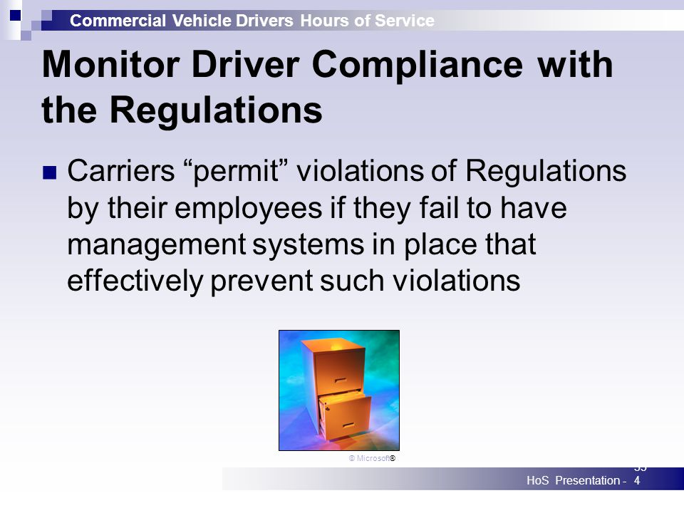 Commercial Vehicle Drivers Hours of Service HoS Presentation -354 Monitor Driver Compliance with the Regulations Carriers permit violations of Regulat