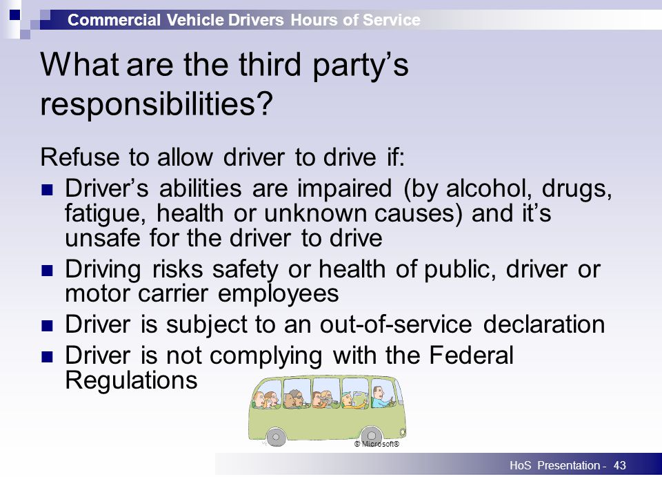 Commercial Vehicle Drivers Hours of Service HoS Presentation -43 What are the third partys responsibilities? Refuse to allow driver to drive if: Drive